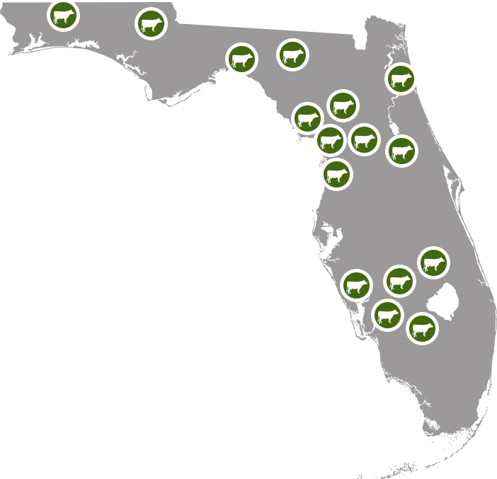 Map of Florida with locations of dairy farms