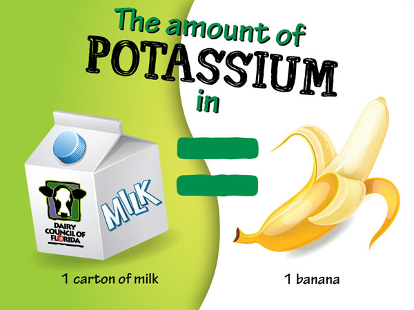 The amount of potassium in milk image