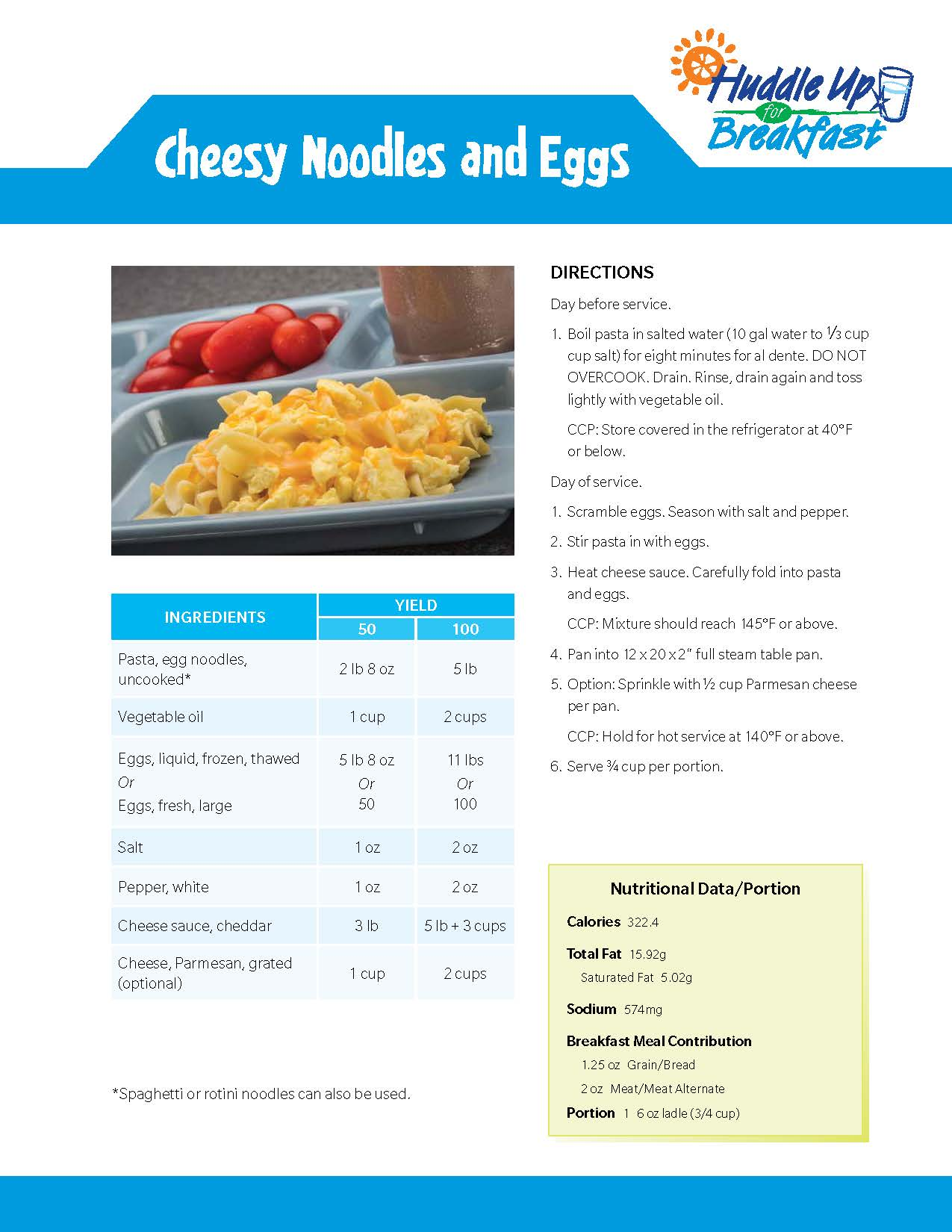 Cheesy Noodles And Eggs Main Image