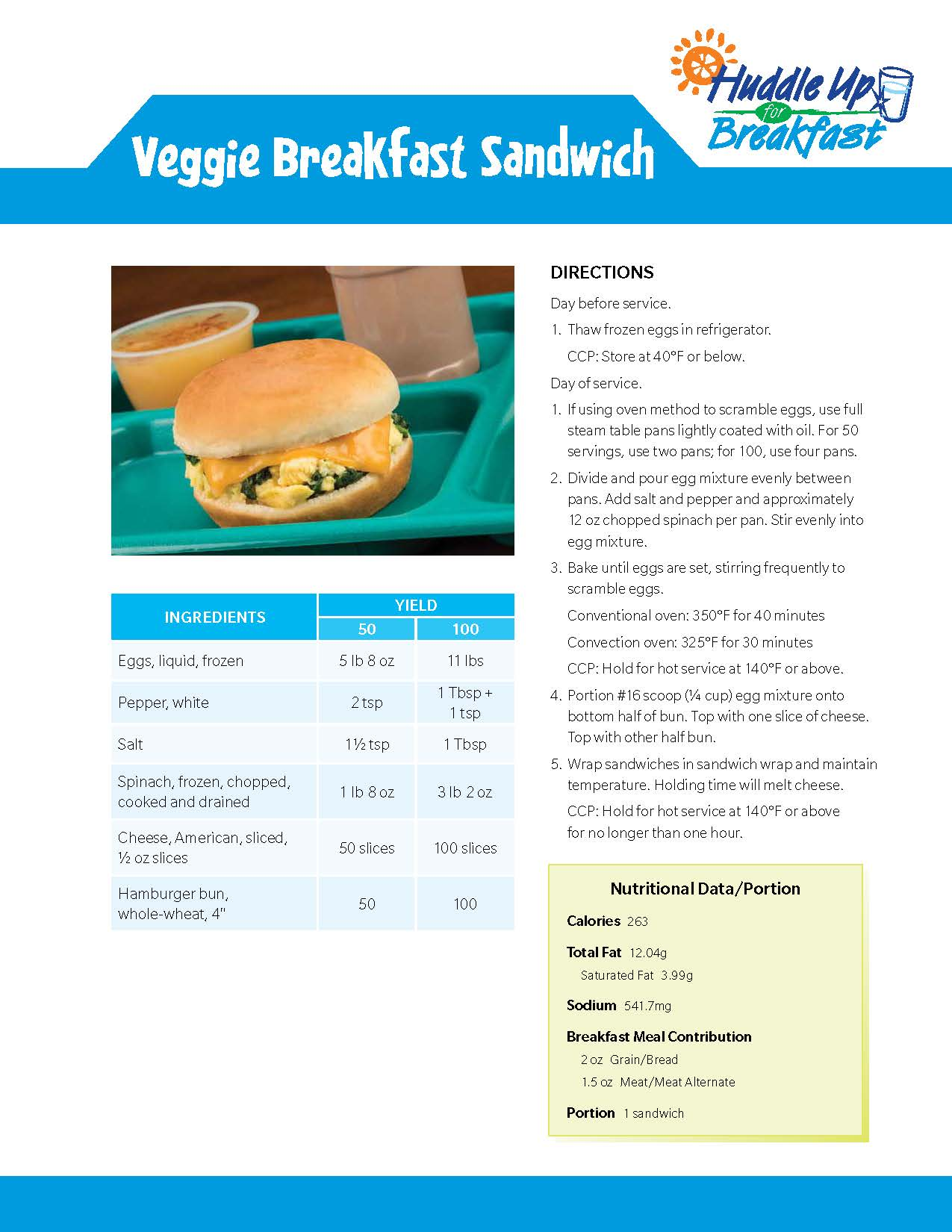 Veggie Breakfast Sandwich Main Image