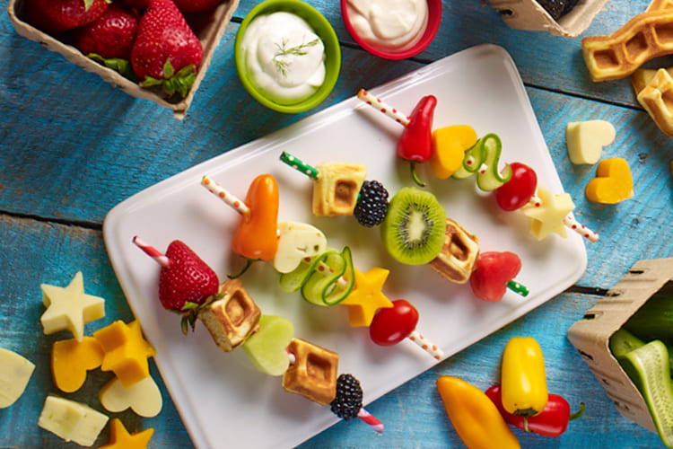 Fruit and Waffle Kabobs with a Yogurt & Honey Dip Featured Image