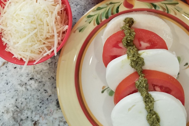 Caprese Salad with Pesto Drizzle