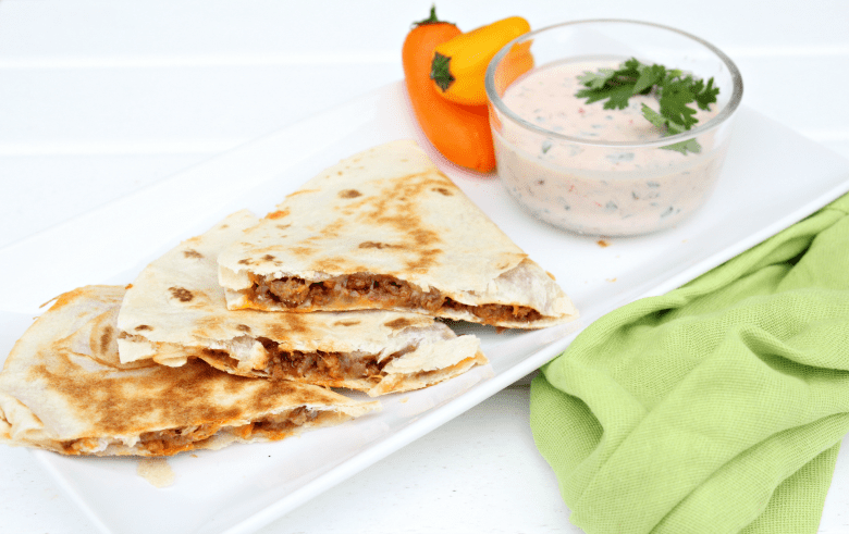 Easy Cheesy Quesadillas with Creamy Mexican Dipping Sauce