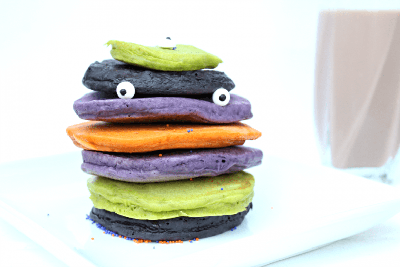 Colorfully Eerie Halloween Pancakes