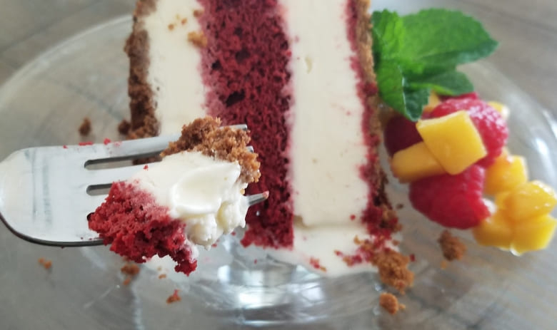 Red Velvet Ice Cream Cake with Mango and Raspberry Topping